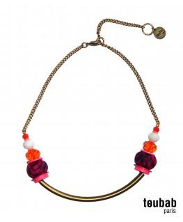 collier SMILY violet, rose et orange