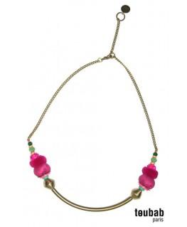 collier SMILY rose et vert