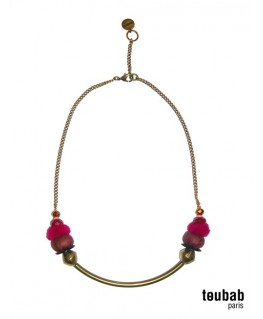 collier SMILY marron et fushia
