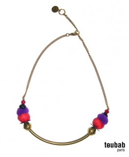 collier SMILY violet et rouge