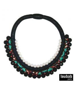 collier PANAMA noir et turquoise
