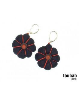 BOUCLE D'OREILLE DIONGA NOIRE COUTURE ROSE